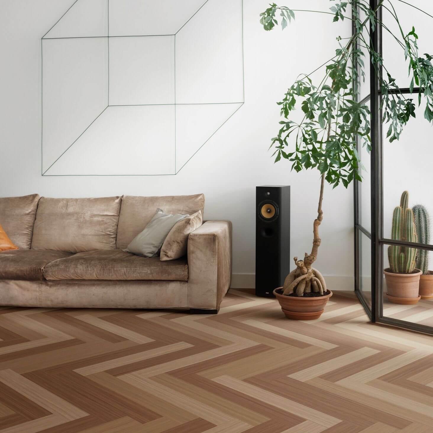 Wohnzimmer mit Linoleum Fußbodenbelag